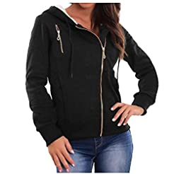 Women Solid Color Zipper Up Plush Hoodie...