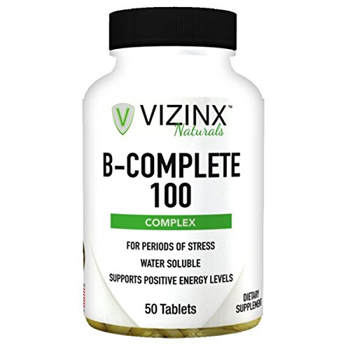 Stress B-complex 50 Tab - VIZINX B-100 Complete - Complex of Thiamine, Riboflavin, Niacinamide, Pantothenic Acid, Pyridoxine, Folic Acid, Cobalamin, and Biotin, Supports Reduction of Stress & Positive Energy Levels, 50 Tablets
