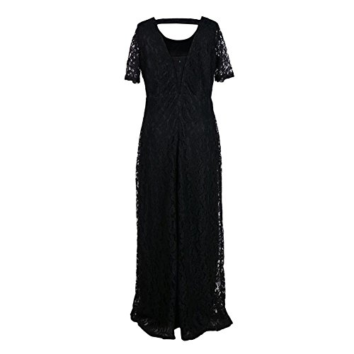 manga tamaño Vestido redondo de las de cuello corta Highdas gran negro las de Encaje de tamaño más mujeres de floral Fiesta elegante f4wq6xpqR