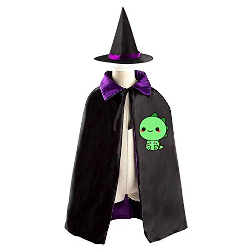 Halloween Costume Children Cloak Cape Wizard Hat Cosplay Green Baby Dino For Kids Boys -
