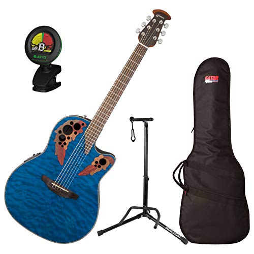 - Ovation CE44P-8TQ Celebrity Elite Plus Mid-Depth Transparent Blue Quilt A/E Guitar with Gig Bag, Stand, and Tuner