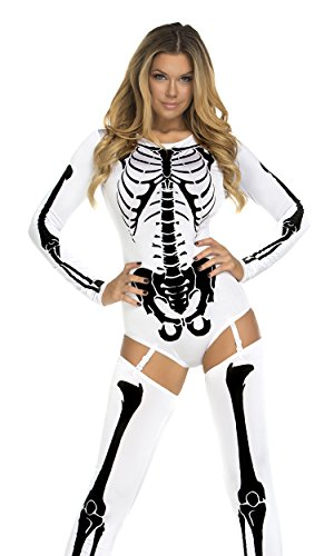 Sexy Skeleton Halloween Costumes (Forplay Women's Bone-A-Fide, White, X-Small/Small)