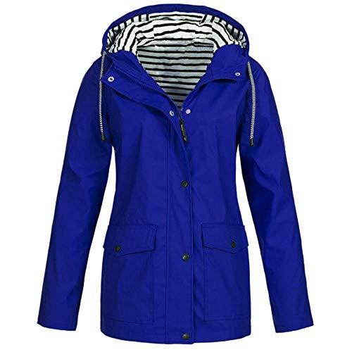 HGWXX7 Women Solid Rain Jacket Outdoor Plus Size Coats Waterproof Hooded Raincoat -