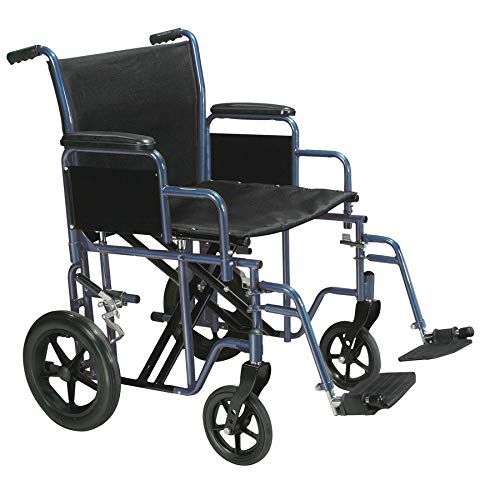 Drive Medical Bariatric Steel Transport Chair, Blue