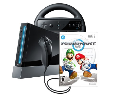 Amazon com: Wii Console with Mario Kart Wii Bundle - Black