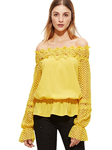 SheIn Women's Off The Shoulder Crochet long Sleeve Blouse - Yellow Large