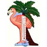 Songbird Essentials SE2170711 Flamingo and Palm Tree Small Window Thermometer (Set of 1)