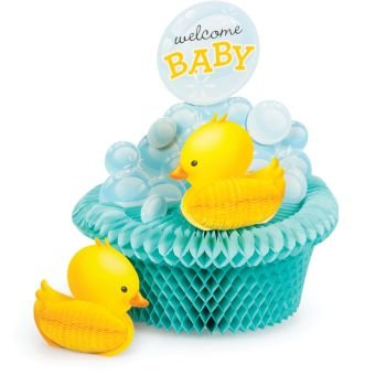 Creative Converting 267058 Bubble Bath Rubber Ducky Baby Shower Honeycomb Centerpiece Party Supplies 9 3/4