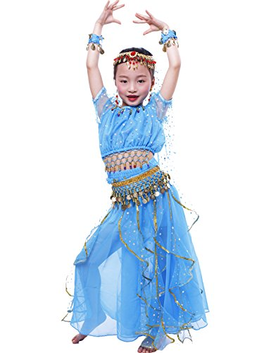 Astage GilrsGirls Belly Dance Carnival Dancing Dress Sky Blue S (Belly Dancing Costume For Kids)