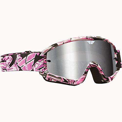 Fly Racing Zone Pro Adult MotoX/Off-Road/Dirt Bike Motorcycle Goggles Eyewear - Pink With Chrome/Smoke / One Size Fits (Fly Racing Mx)