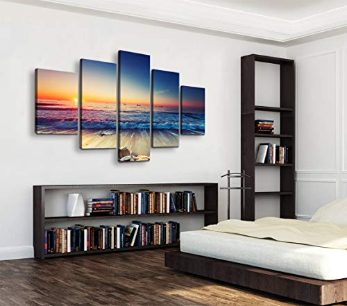- Cao Gen Decor Art-AS40139 5 Panels Framed Wall Art Blue Ocean Sea Canvas Prints Picture Seaview Pictures Painting On Canvas Modern Seascape Home Office