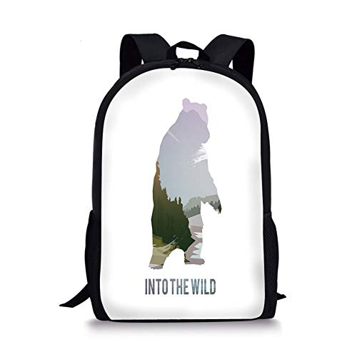 School Bags Cabin Decor,Wild Animals of Canada Survival in the Wild Theme Hunting Camping Trip Outdoors Decorative,Multicolor for Boys&Girls Mens Sport Daypack -