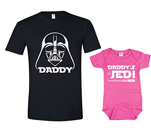 Darth Vader In Suit (Texas Tees Jedi Bodysuit, Darth Vader Tshirt, Matching Shirt for Dad,Darth & Jedi - Black & Pink,Mens (X-Large) & 0-3 Month)