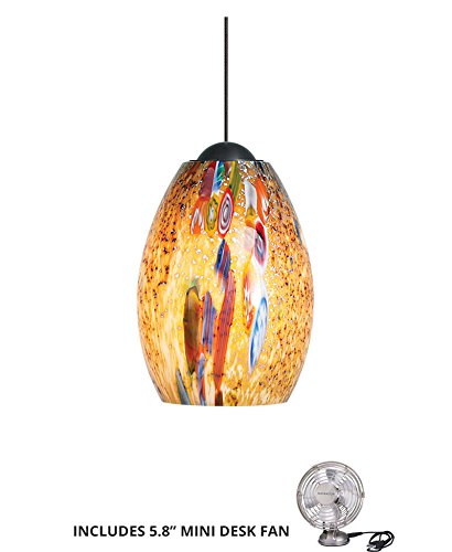 Monty Pendant Lamp (LBL HS338MOBZ1B50FSJ, Mini-Monty Mini Low Volt Murano Glass Pendant, 1LT Halogen, Bronze (Includes Mini Desk Fan))