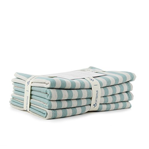 SOFTEXTILE Retro Luxury Muslin Gauze Large Hand Towel (4-Pieces, 14 x 30 inches - Organic Eco-Friendly ) - Green Teal White Stripe - 100% Egyptian Cotton