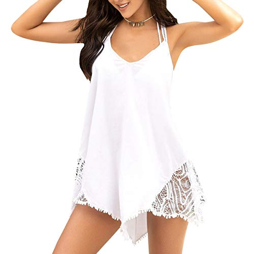 - Mapale Beach Dress Cover-Up, L, White