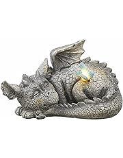 TERESA'S COLLECTIONS Dragon Garden Ornamenten met zonne-energie, hars steen afgewerkt buiten dinosaurus beeldjes slapen baby draak voor terras gazon tuin decoratie, 24,5 cm