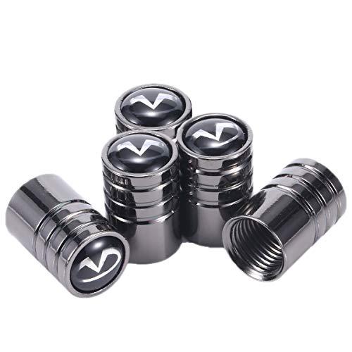 TK-KLZ 5Pcs Chrome Car Tire Valve Stem Caps for Infiniti Q50 FX35 FX37 F50 G37 QX70 QX60 EX35 G35 Decorative ()