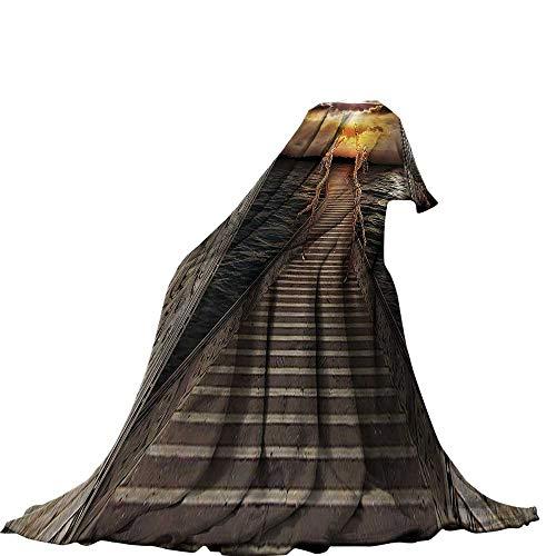 QINYAN-Home manta de felpa (50 x 30 cm), colcha de verano, decoración de fantasía, pequeña ilustración de la ciudad...