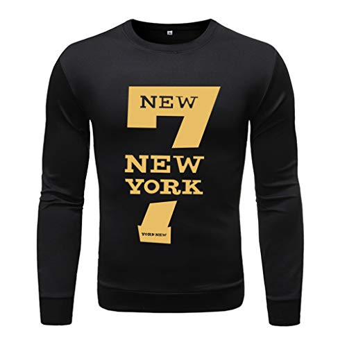 LOOKAA Shirts Men's Fashion Long-Sleeved Round Neck Solid Color Printing Sweater Tops Blouse (Best Shark Steam Mop 2019)