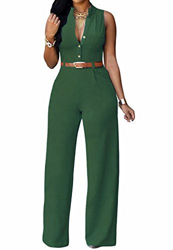 roswear-Womens-Sexy-Plunge-V-Neck-Belted-Wide-Leg-Jumpsuits-Dress