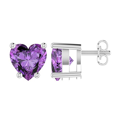 Heart Shaped Amethyst Earrings - Solid Sterling Silver 5mm Heart Shaped Natural 0.9 CT Amethyst Stud Earrings, High Polished Natural Amethyst Earrings with Push Backs