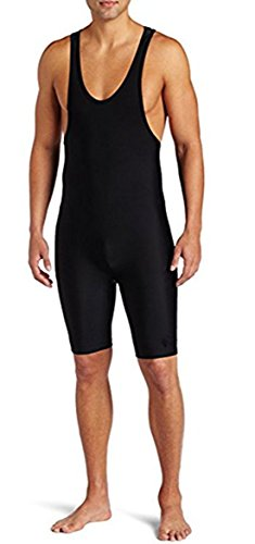 (Alvivi Men's Solid Modified Wrestling Singlet One-Piece Gym Leotard Bodysuit Black Large)