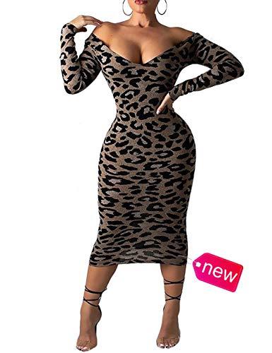 - Womens Deep V Neck Long Sleeve Leopard Print Pattern Bodycon Dress Sexy Vintage Knee Length Dress Party Club Lady Slim Fit Wrap Maxi Dress Leopard Print M