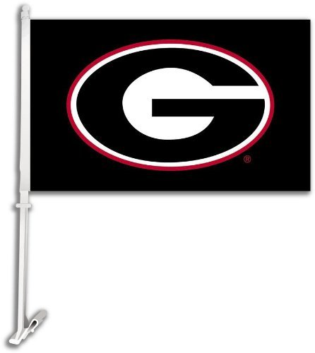 NCAA Georgia Bulldogs Car Flag G Logo with Black Background with Free Wall Bracket (Georgia Bulldogs Car Kit)