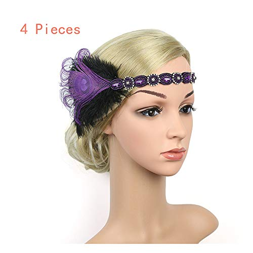 Naiflowers 1920S Vintage Luxury Headpiece Feather Flapper Headband Great Gatsby Headdress Bridal Prom Headdress (Purple-4 Pieces) -