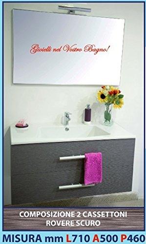 Veneto Produce Qualità ANNA 8 - Composizione mobile ROVERE SCURO 2 cassettoni, lavello ceramica, specchiera e luce 710 mm