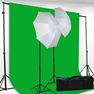 Chromakey Green Screen Kit Lighting Kit 400 Watt Video Lighting Kit by fancierstudio - 6x9-Feet Green Screen (H69G)