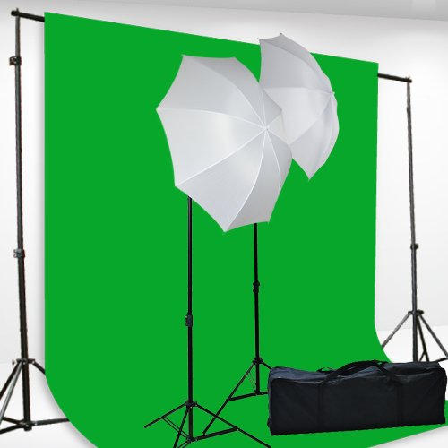 Chromakey Green Screen Kit Lighting Kit 400 Watt Video Lighting Kit by fancierstudio - 6x9-Feet Green Screen (H69G) by Fancierstudio