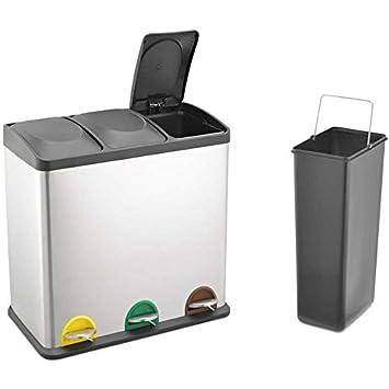 3x20L 60L con tapadera Plateado 60/l de capacidad Papelera de reciclaje de la marca Evre para cocina 3/compartimentos de separaci/ón de residuos con c/ódigo de color