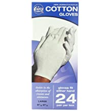 CARA  Dermatological Cotton Gloves, Large, 24 Count