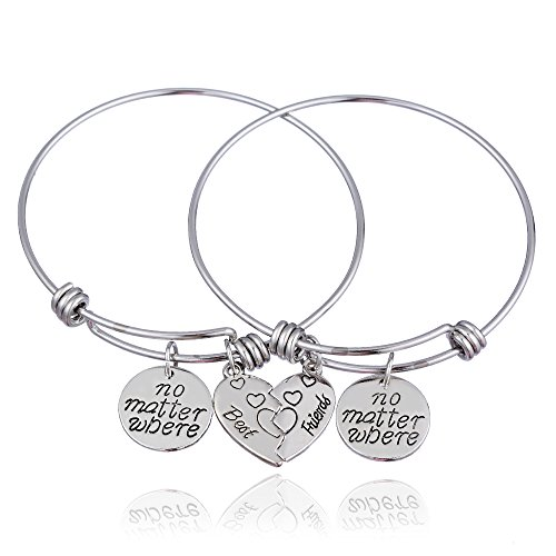 lauhonmin 2pcs BBF Best Friends No Matter Where Compass Split Broken Heart Double Bracelets Set Friendship Gift (Expandable Bangle)