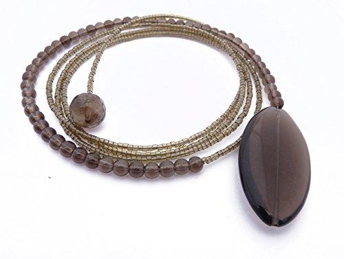- DAMALI Handmade Smoky Quatz Diane Keaton Lariat Necklace, Single Strand Lasso Necklace