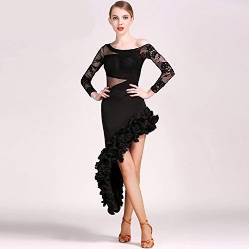 ZTXY Latin Dance Dresses for Women Asymmetric Latin Dance Dresses for Girls Fancy Dress for Adults Irregular Hem Professional Dancers Costume Black,XL -