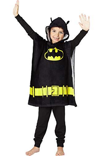 DC Comics Batman Bat Logo Superhero Hooded Bath Beach Swim Poncho Towel, Black, 4-7
