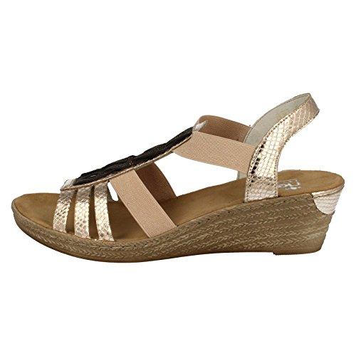 ... metallisch Rieker , Damen Sandalen silber metallisch metallisch 97bb494643