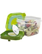 Fit & Fresh Chilled Salad Shaker Container with Dressing Dispenser, 4 Cup Capacity