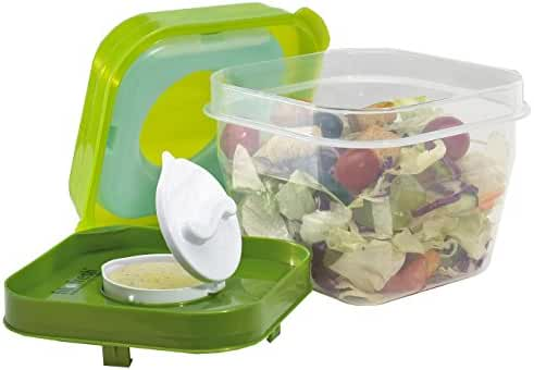 Fit & Fresh Salad Shaker Reusable Plastic Container with Dressing Dispenser and Ice Pack, Healthy Lunch Box Set, 4-Cup Capacity, BPA-Free