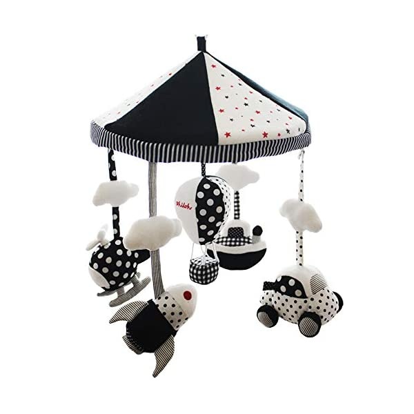 SHILOH Baby Crib Decoration Lullabies Plush Musical Mobile (White and Black)