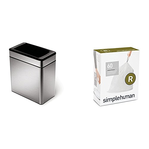 simplehuman 10 litre profile open can brushed stainless steel + code R 60 pack liners by simplehuman