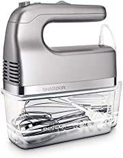 SHARDOR 5 Speed Electric Hand Mixer with 5 Stainless Steel Attachments(2 Beaters, 2 Dough Hooks and 1 Whisk) and Storage Case, 350W, Silver