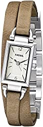 Fossil Delaney Three Hand Leather Watch - Sand Jr