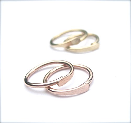 Small Hoop Earrings, Cartilage Hoops, Second Hole Piercing: 14K Yellow Gold Fill, 14K Rose Gold Fill, or Solid Sterling Silver (Yellow 14k Design Twisted)