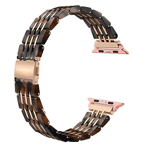 Wearlizer Womens Compatible with Apple Watch Band 42mm 44mm iWatch Unique Resin Strap Cool Wristband Replacement Mens Sport Bracelet with Steel Clasp Series 4 3 2 1 Edition-Tortoise+Deep Rose Gold