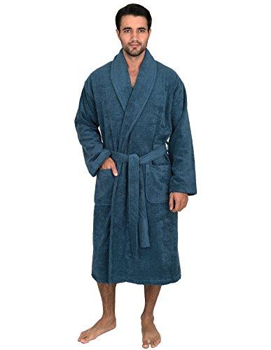 (TowelSelections Men's Robe, Turkish Cotton Terry Shawl Bathrobe Large/X-Large Blue Ashes)