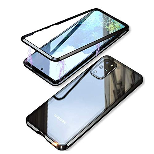OcaseQ Case for Samsung Galaxy S20/S20 Plus/S20 Ultra Clear Magnetic Adsorption Case with Protection Camera Lens Metal Shockproof Frame 360 Degree Protection Tempered Glass Cover,Black,S20 Plus